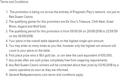 Big Cash Prizes at Red Queen Casino