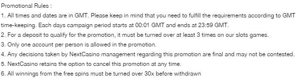 Bonus Spins In Next Casino Mega Bloody Promo