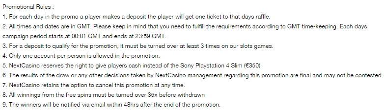 Bonus Spins plus Chance to Win Playstation 4 Slim at NextCasino