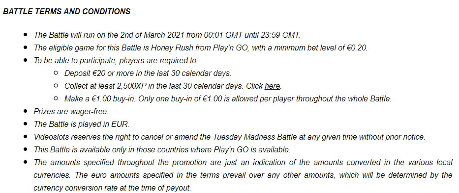 Tuesday Madness Battle of Slots Freeroll at VideoSlots Casino