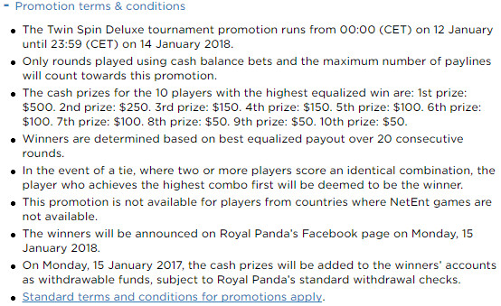Win €500 in the Twin Spin Tournament at Royal Panda Casino